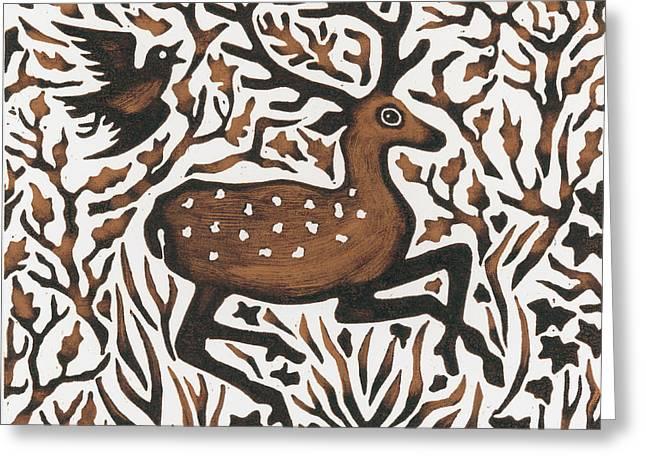 Wildlife Drawings Greeting Cards - Woodland Deer Greeting Card by Nat Morley