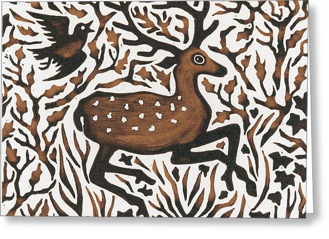 Woodcut Greeting Cards - Woodland Deer Greeting Card by Nat Morley
