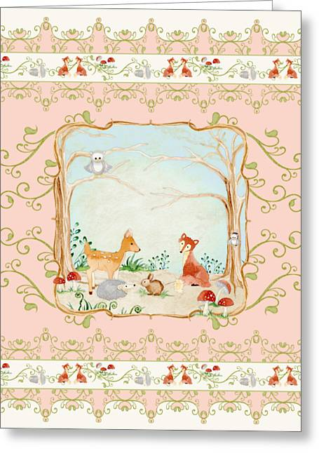 Painted Image Greeting Cards - Woodland Fairy Tale - Blush Pink Forest Gathering of Woodland Animals Greeting Card by Audrey Jeanne Roberts