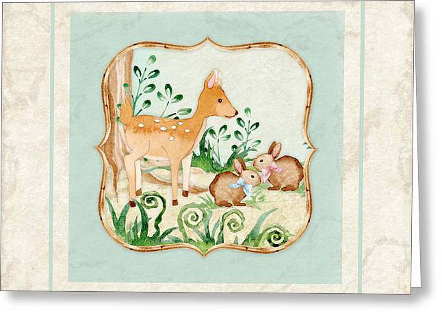 Woodland Fairy Tale - Deer Fawn Baby Bunny Rabbits In Forest Greeting Card by Audrey Jeanne Roberts