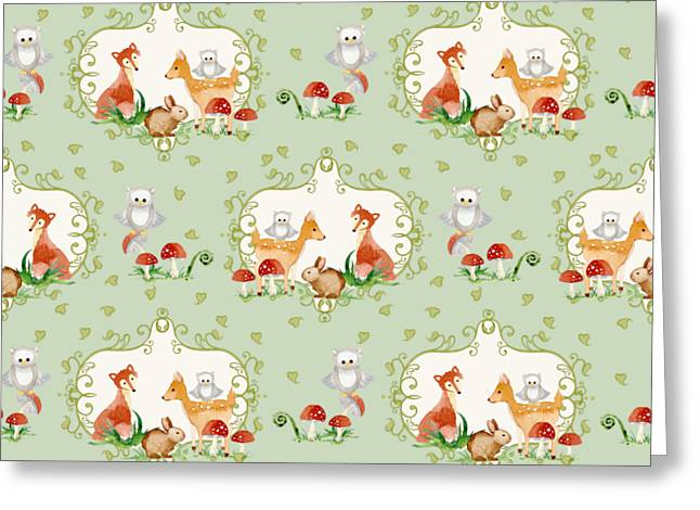 Image Repeat Greeting Cards - Woodland Fairy Tale - Mint Green Sweet Animals Fox Deer Rabbit owl - Half Drop Repeat Greeting Card by Audrey Jeanne Roberts