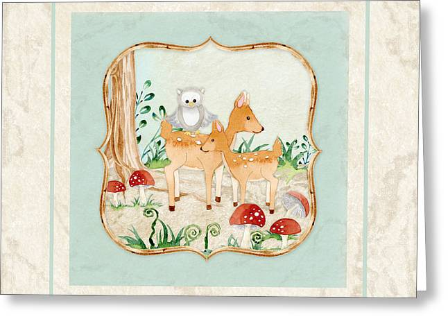 Cute Owl Greeting Cards - Woodland Fairy Tale - Owl on Deer Fawns Back in Forest Greeting Card by Audrey Jeanne Roberts