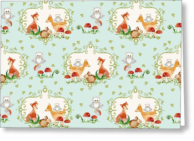 Image Repeat Greeting Cards - Woodland Fairy Tale - Sweet Animals Fox Deer Rabbit owl - Half Drop Repeat Greeting Card by Audrey Jeanne Roberts