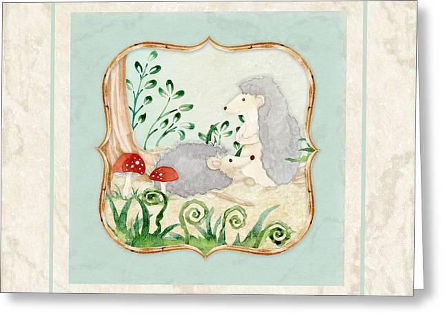 Painted Image Greeting Cards - Woodland Fairy Tale - Woodchucks in the Forest w Red Mushrooms Greeting Card by Audrey Jeanne Roberts
