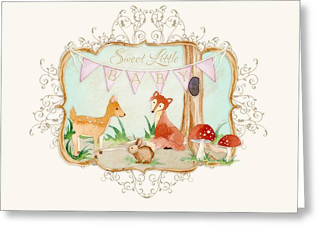 Cute Tree Images Greeting Cards - Woodland Fairytale - Banner Sweet Little Baby Greeting Card by Audrey Jeanne Roberts