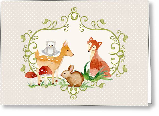 Woodland Fairytale - Grey Animals Deer Owl Fox Bunny N Mushrooms Greeting Card by Audrey Jeanne Roberts