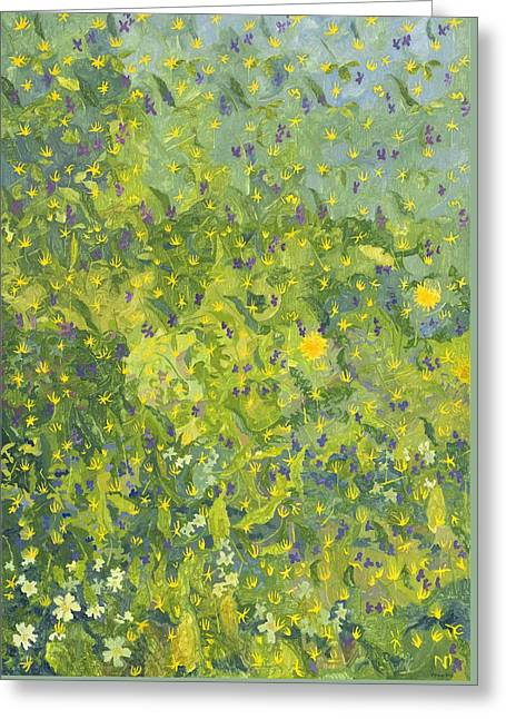 Fresh Green Paintings Greeting Cards - Woodland Opening Greeting Card by Leigh Glover