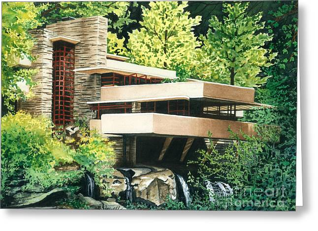 Woodland Scenes Greeting Cards - Fallingwater-a Woodland Retreat by Frank Lloyd Wright Greeting Card by Barbara Jewell