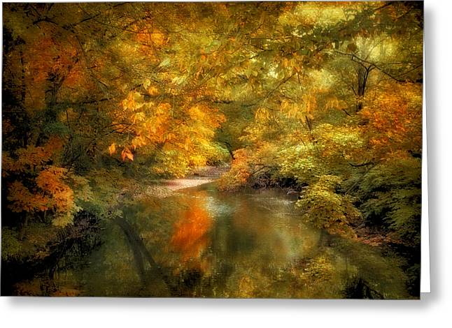 Woodland River Lights Greeting Card by Jessica Jenney