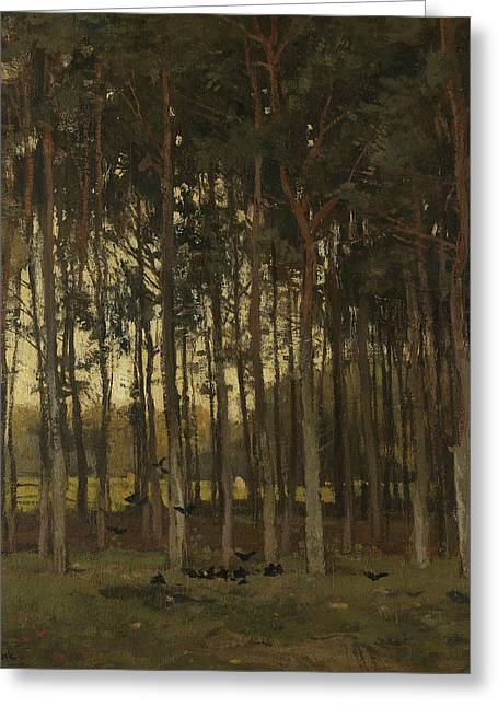 Woodland Scene Greeting Card by Theophile de Bock