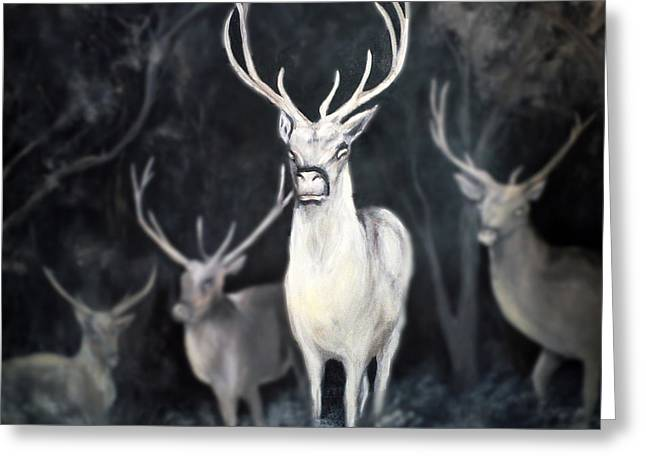 Ghostly Greeting Cards - Woodland Spirits Greeting Card by Nancy Bradley