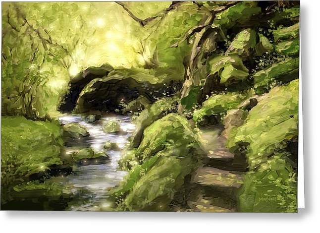 Tree Leaf On Water Greeting Cards - Woodland Steps Greeting Card by Melissa Herrin