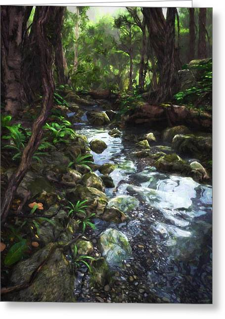 Lush Green Digital Greeting Cards - Woodland Stream Greeting Card by Cynthia Decker