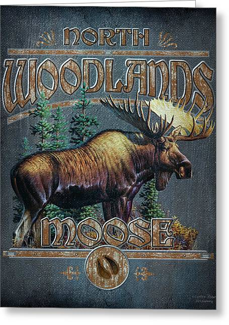 Vignette Greeting Cards - Woodlands Moose Sign Greeting Card by JQ Licensing