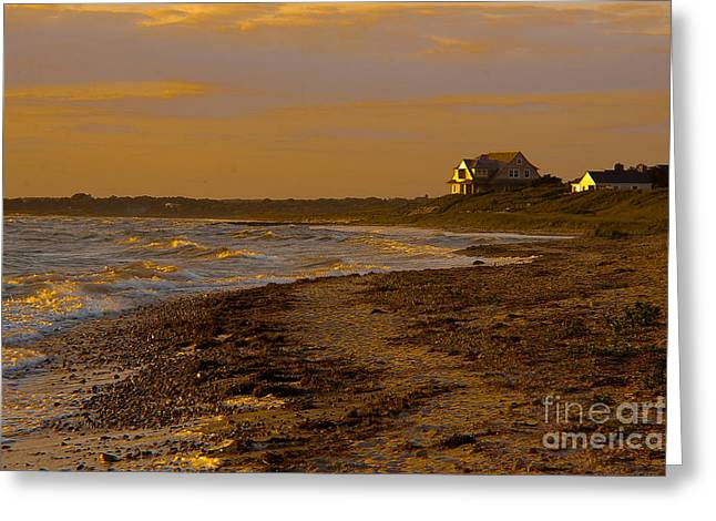 Sailboat Ocean Digital Greeting Cards - Woodneck Beach Sunset Greeting Card by Michael Petrizzo