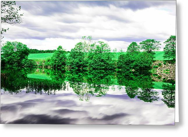 Stream Digital Art Greeting Cards - Woods and water Greeting Card by Toppart Sweden