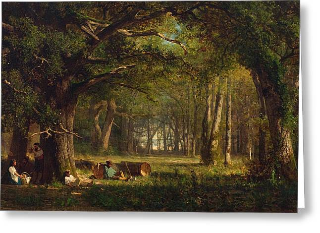 Fontainebleau Greeting Cards - Woods at Fontainebleau Greeting Card by Celestial Images