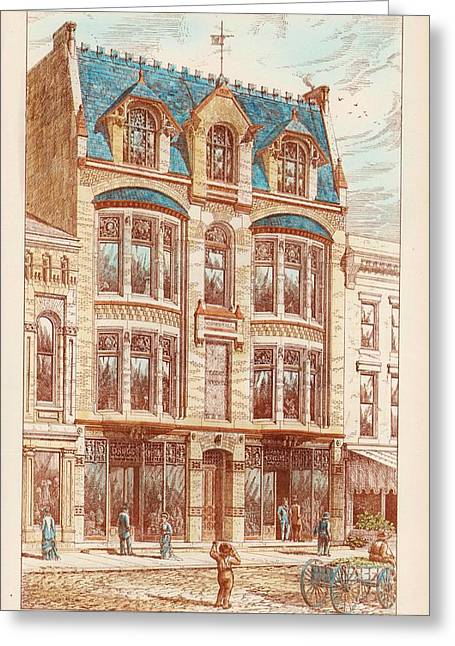 Wood Blocks Greeting Cards - Woods Building. Wilkes Barre PA. 1878 Greeting Card by Bruce Price