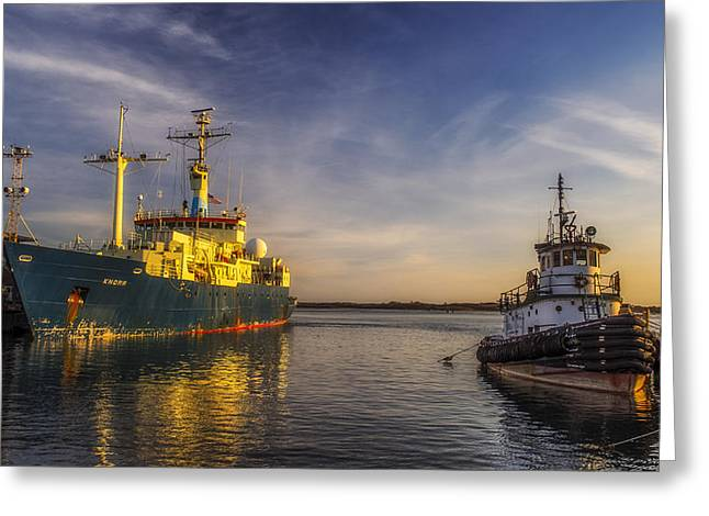 Falmouth Massachusetts Greeting Cards - Woods Hole ship yard Greeting Card by Mark Papke