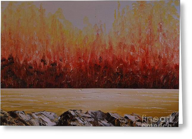 Engulfing Greeting Cards - Woods of Fire Greeting Card by Martin Schmidt