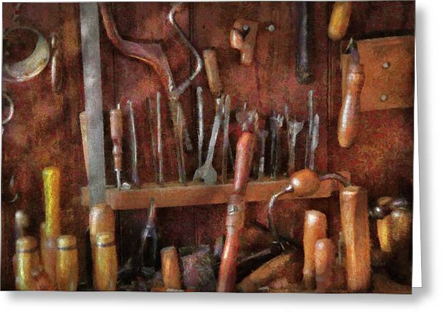 Tradesman Greeting Cards - Woodworker - Old tools Greeting Card by Mike Savad