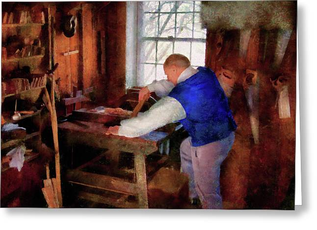 Woodworker - The Master Carpenter Greeting Card by Mike Savad