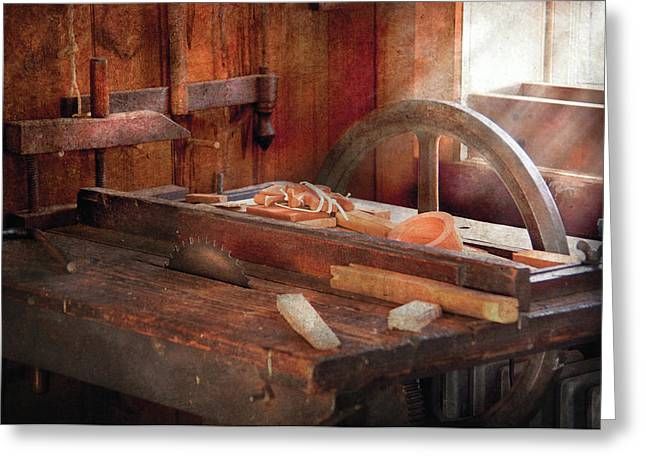 Woodworker - The Table Saw Greeting Card by Mike Savad