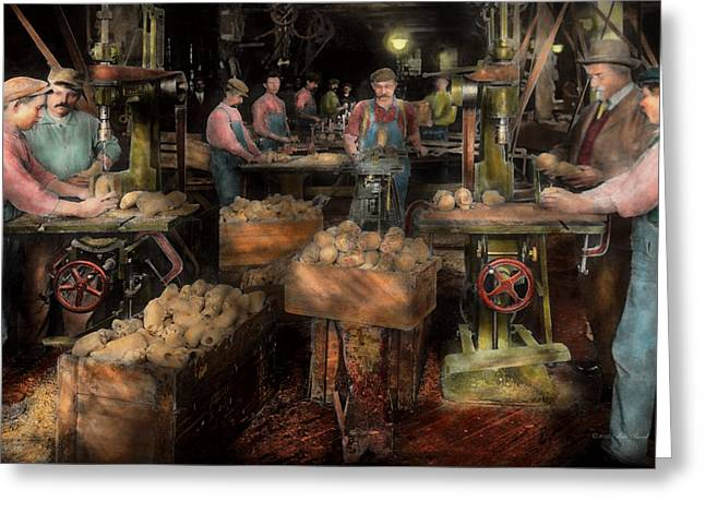 Woodworking - Toy - The Toy Makers 1914 Greeting Card by Mike Savad