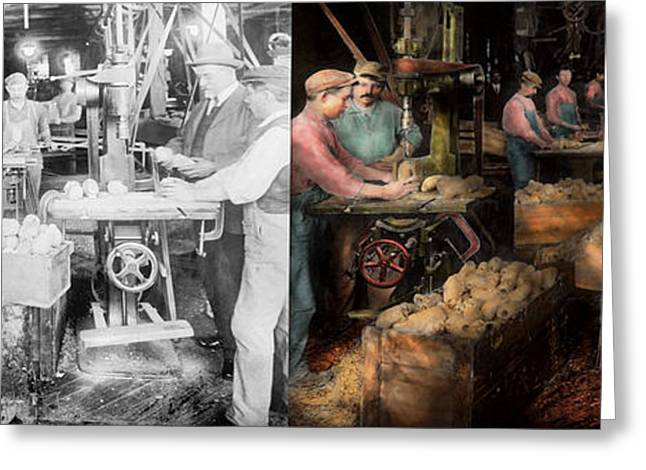 Making Toys Greeting Cards - WoodWorking - Toy - The toy makers 1914 - Side by side Greeting Card by Mike Savad
