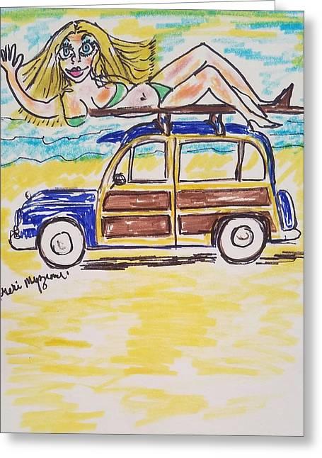 Woody Classic Car Greeting Card by Geraldine Myszenski
