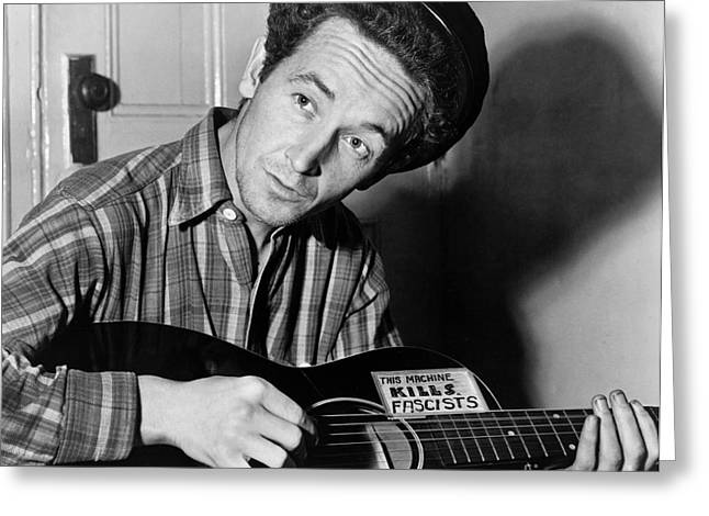 Singer Songwriter Photographs Greeting Cards - Woody Guthrie (1912-1967) Greeting Card by Granger