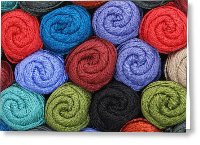 Knitting Greeting Cards - Wool Yarn Skeins Greeting Card by Jim Hughes