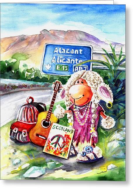 Woolhelmina The Scottish Sheep Playing Flamenco Greeting Card by Miki De Goodaboom