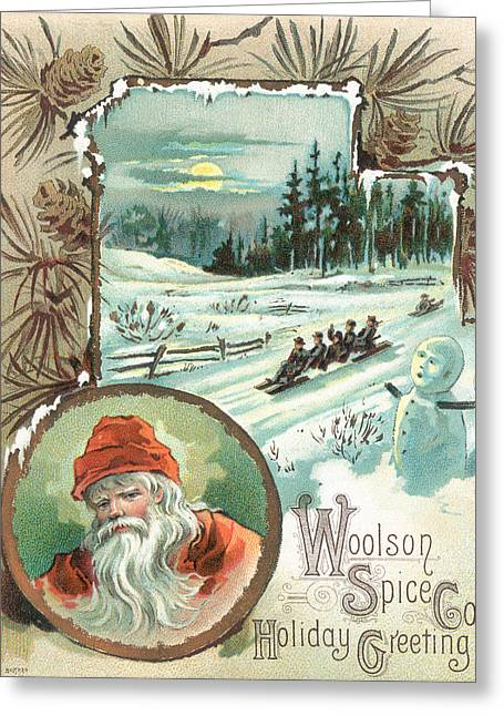 Woolson Spice Company Christmas Card Greeting Card by John Henry Bufford