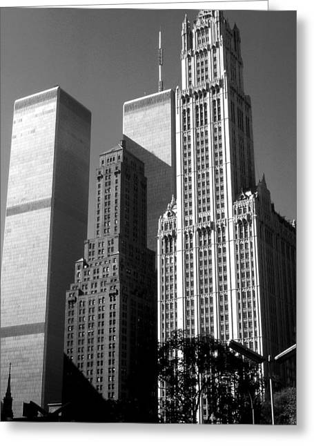 American Greeting Cards - Woolworth Building New York City - Black and White Photo Greeting Card by Peter Fine Art Gallery  - Paintings Photos Digital Art