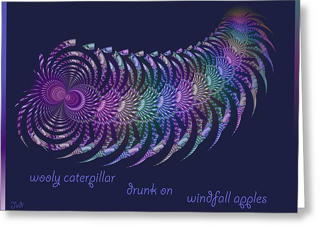 Generative Abstract Greeting Cards - Wooly Caterpillar Haiga Greeting Card by Judi Suni Hall