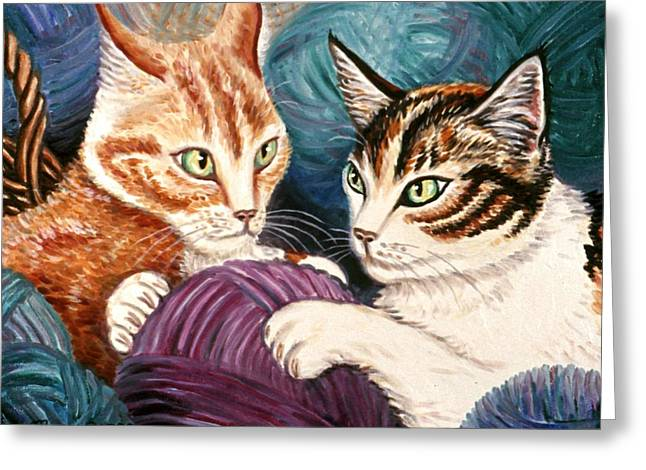Cat Greeting Cards - Wooly Rollick Greeting Card by Linda Mears