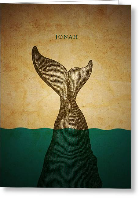 Biblical Greeting Card featuring the digital art Wordjonah by Jim LePage