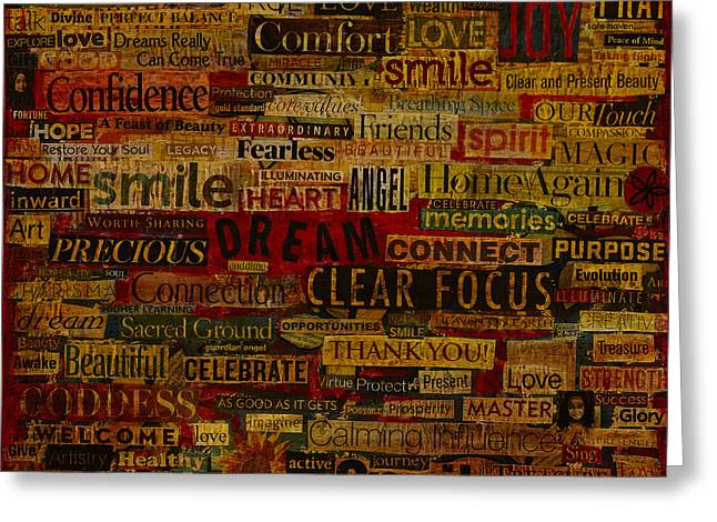 Words Matter Greeting Card by Gloria Rothrock
