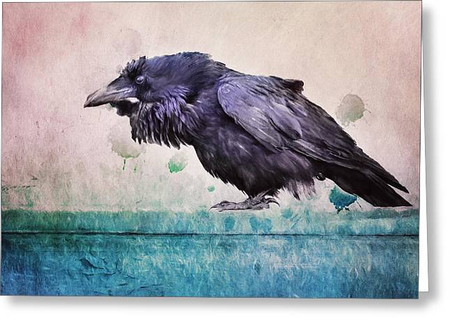 Words Of A Raven Greeting Card by Priska Wettstein