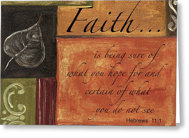 Words To Live By Faith Greeting Card by Debbie DeWitt