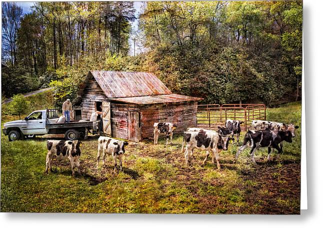 White River Scene Greeting Cards - Work at the Farm Greeting Card by Debra and Dave Vanderlaan