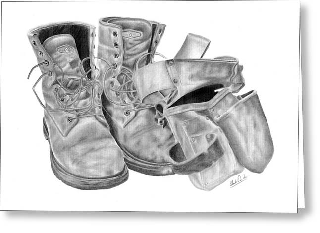 Apron Drawings Greeting Cards - Construction work boots and apron Greeting Card by Claude Prud
