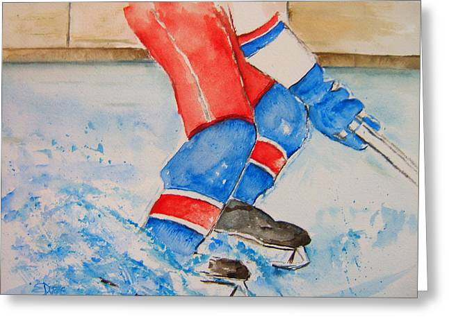 Hockey Paintings Greeting Cards - WORK for the Puck Greeting Card by Elaine Duras