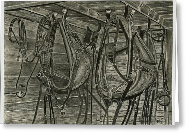 Old Barn Drawing Greeting Cards - Work Harness Greeting Card by Bryan Baumeister