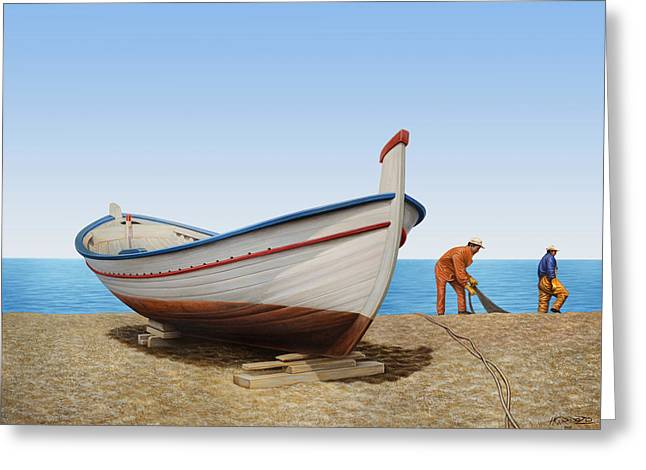 Fishing Boats Greeting Cards - Work in Progress Greeting Card by Horacio Cardozo