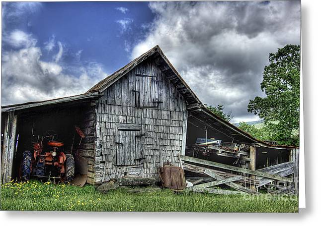 Farm Landscape Greeting Cards - Work is all done Greeting Card by Pete Hellmann