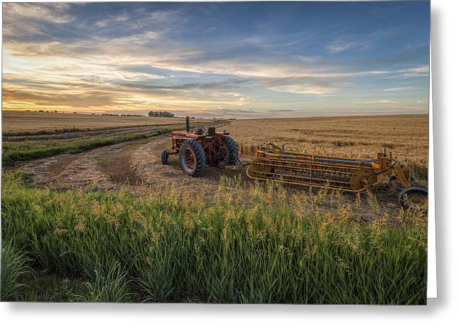 Harvest Art Greeting Cards - Work is Done Greeting Card by Scott Bean