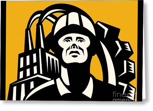 Factory Greeting Cards - Worker Factory Building Greeting Card by Aloysius Patrimonio