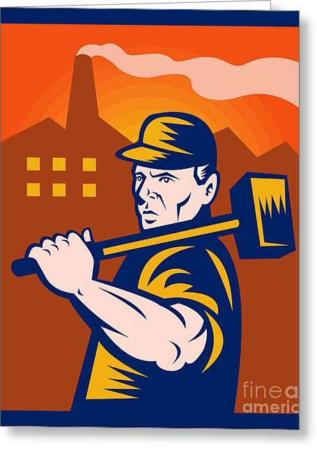 Factory Workers Greeting Cards - Worker With Sledgehammer Greeting Card by Aloysius Patrimonio
